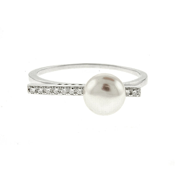 Pearl with CZ Line Ring