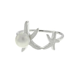 Satin Starfish and Pearl Ring