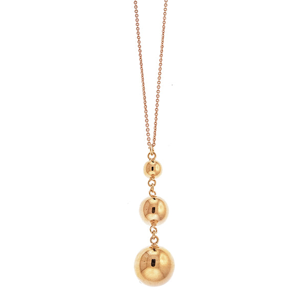 Rose Gold Three Ball Necklace