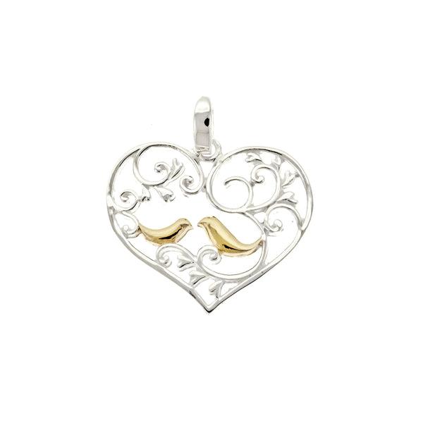 Heart with Gold Vermeil Birds Pendant