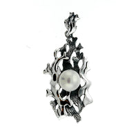 Oxidized Pearl Coral Bed Pendant