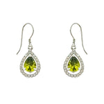 Olive Green CZ Teardrop Earrings