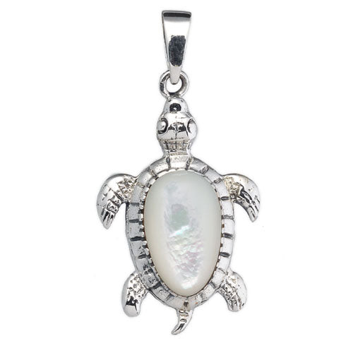 White Mother of Pearl Sea Turtle Pendant