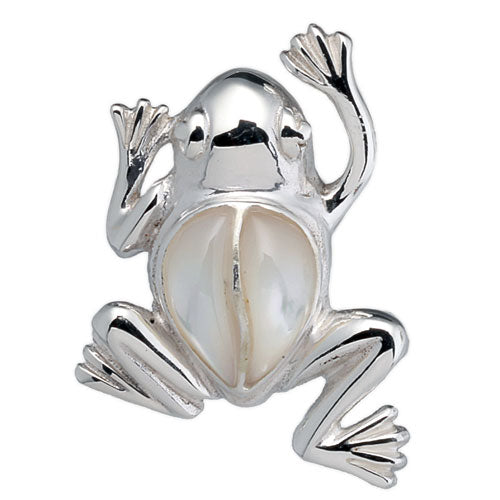 White Mother of Pearl Frog Pendant