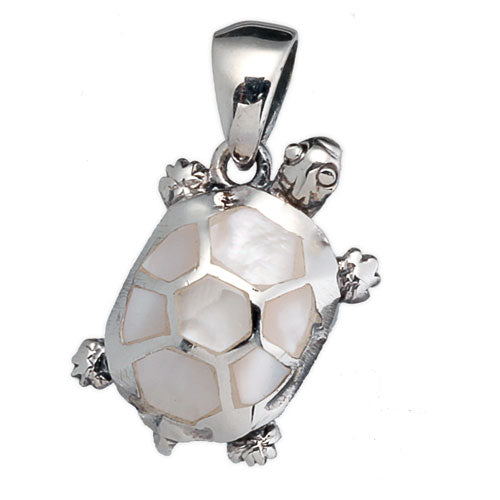 White Mother of Pearl Turtle Pendant