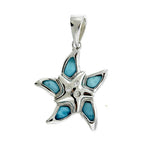 Larimar and CZ Starfish Pendant