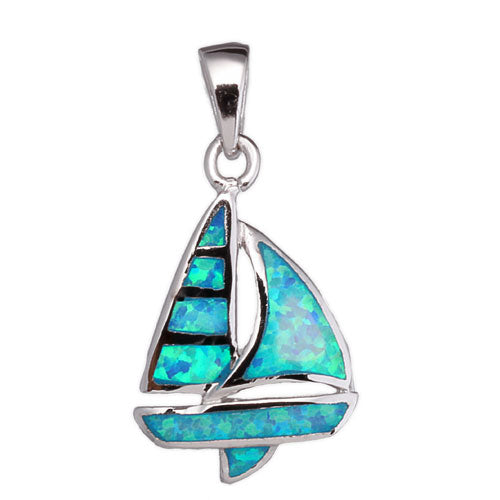 Blue Opal Sailboat Pendant