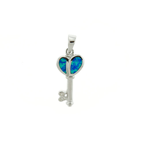 Blue Opal Key Pendant