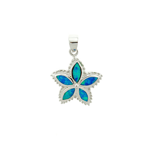 Blue Opal Flower Pendant
