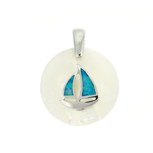 Round Mother of Pearl Blue Opal Sailboat Pendant