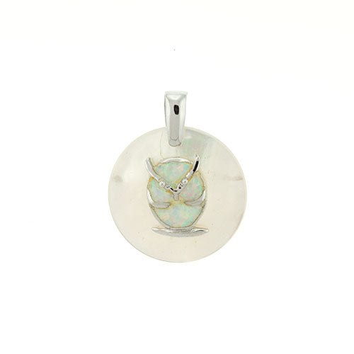 Round Mother of Pearl and White Opal Owl Pendant