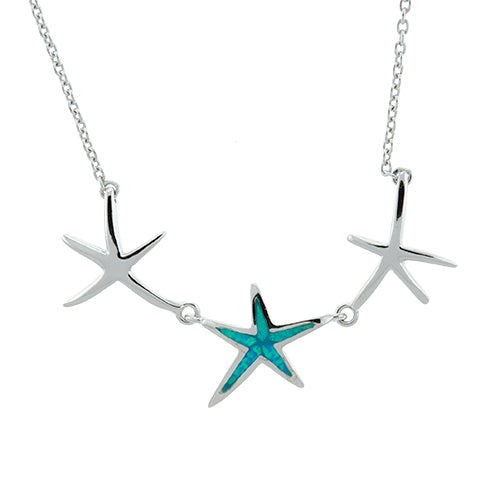 Blue Opal Three Starfish Necklace