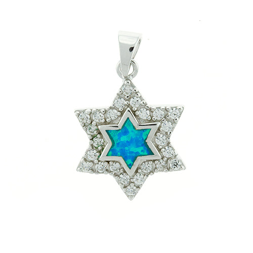 Blue Opal and CZ Star Pendant