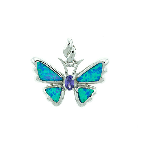 Blue Opal and Amethyst Butterfly Pendant