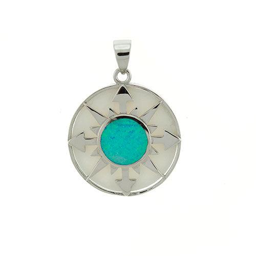 Blue Opal and Mother of Pearl Compass Pendant