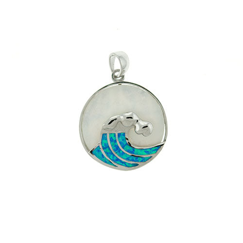 Blue Opal and Mother of Pearl Wave Pendant