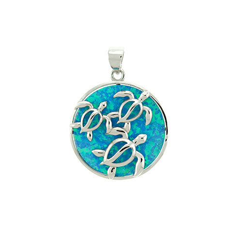 Blue Opal Three Turtle Round Pendant