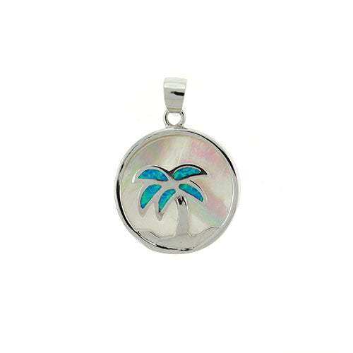 Blue Opal Palm Tree and Mother of Pearl Pendant
