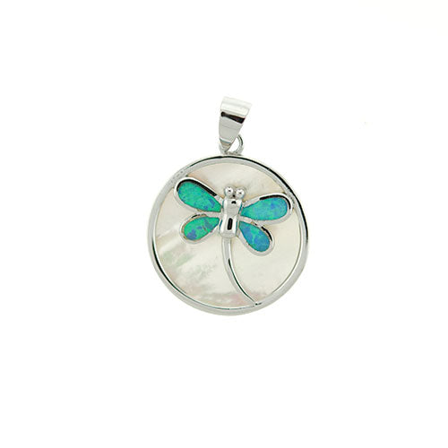 Blue Opal Dragonfly and Mother of Pearl Pendant