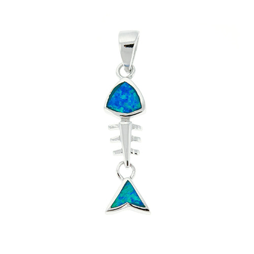 Blue Opal Fish Bone Pendant