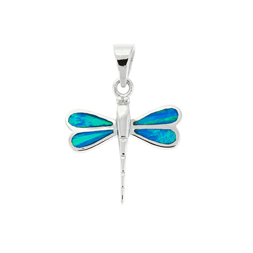 Blue Opal Dragonfly Pendant