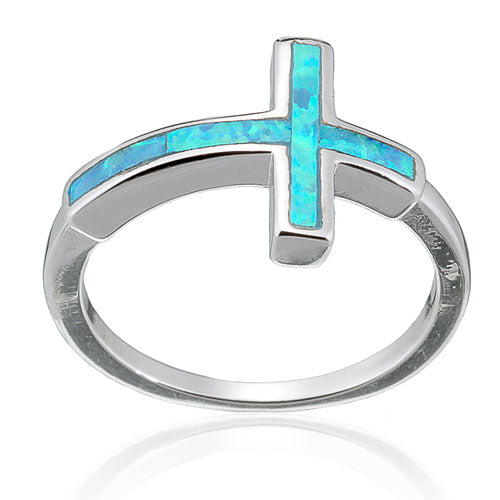 Blue Opal Sideways Cross Ring