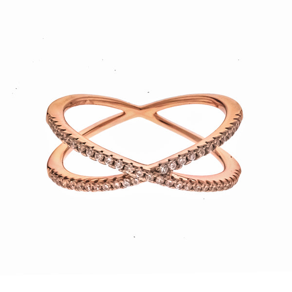 Rose Gold CZ X Ring
