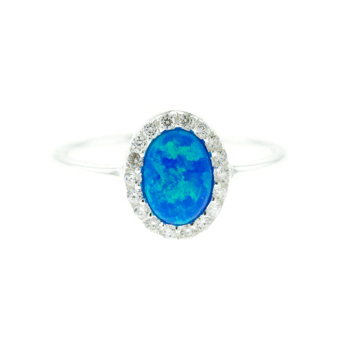 Oval Blue Fire Opal and CZ Ring