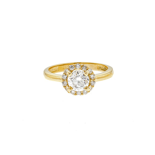 14K Round CZ Halo Engagement Ring