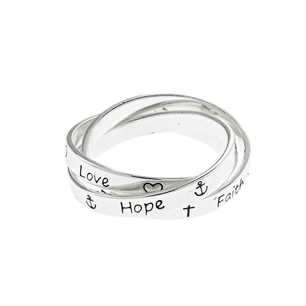 Faith Love Hope Puzzle Ring
