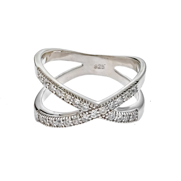 CZ Criss Cross X Ring