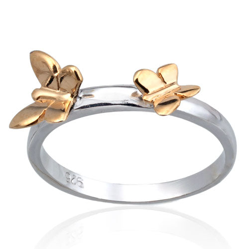 Gold Vermeil Double Butterfly Ring