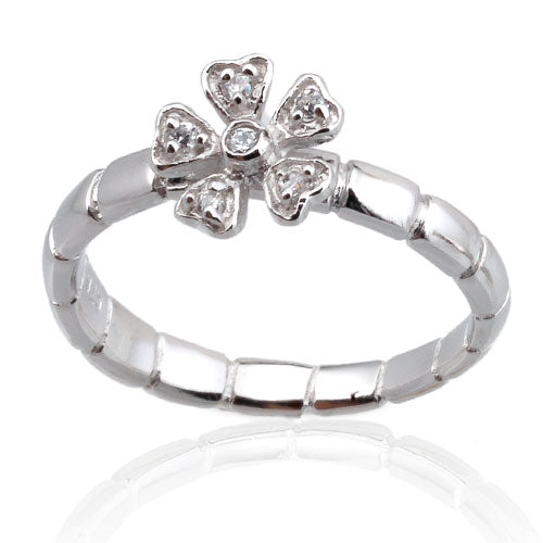 CZ Flower with Bamboo Band Ring