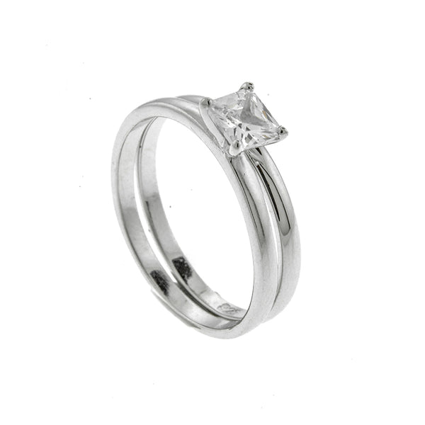 5mm Square Princess Cut Wedding Set