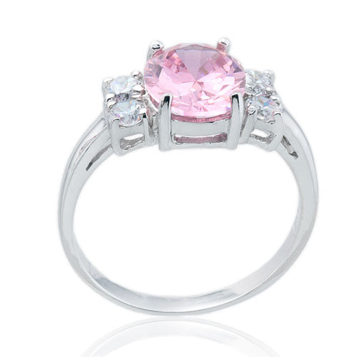 Pink and Four CZ Ring