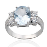 Oval Blue Topaz CZ Ring