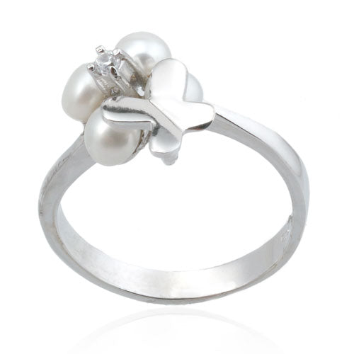 Pearl and CZ Butterfly Ring