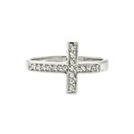 White CZ Sideways Cross Ring