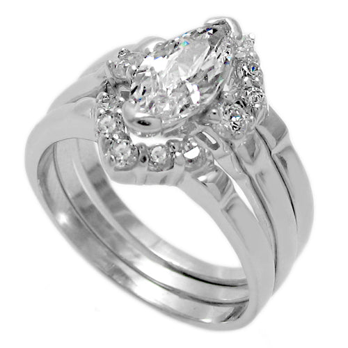 CZ Cathedral Marquise Wedding Set