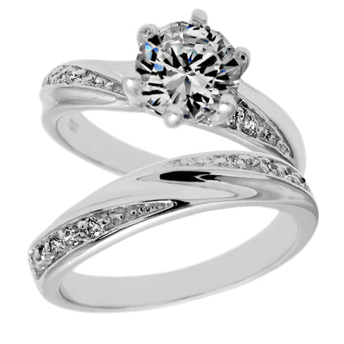 Swirl CZ Wedding Set