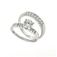 6mm Channel Set CZ Wedding Set