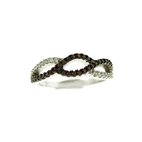 Chocolate CZ Twist Ring