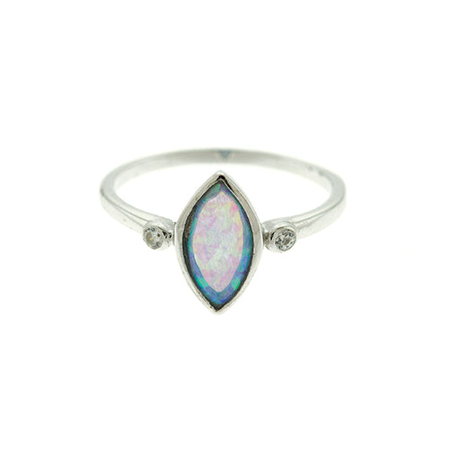 Blue Opal Marquise Ring
