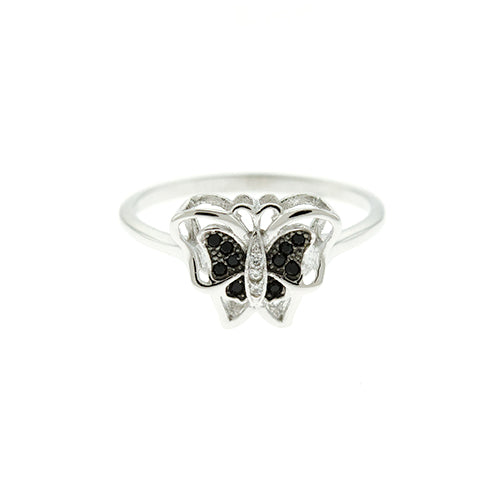 Black CZ Butterfly Ring