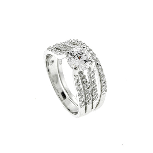 Round Micro Pave CZ Wedding Set