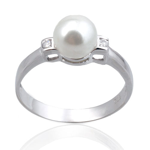 7mm Pearl with CZ Ring