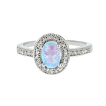 Oval CZ Opal Halo Ring