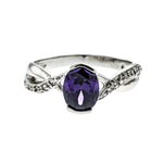 Amethyst CZ Twist Ring
