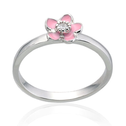Pink Flower CZ Ring