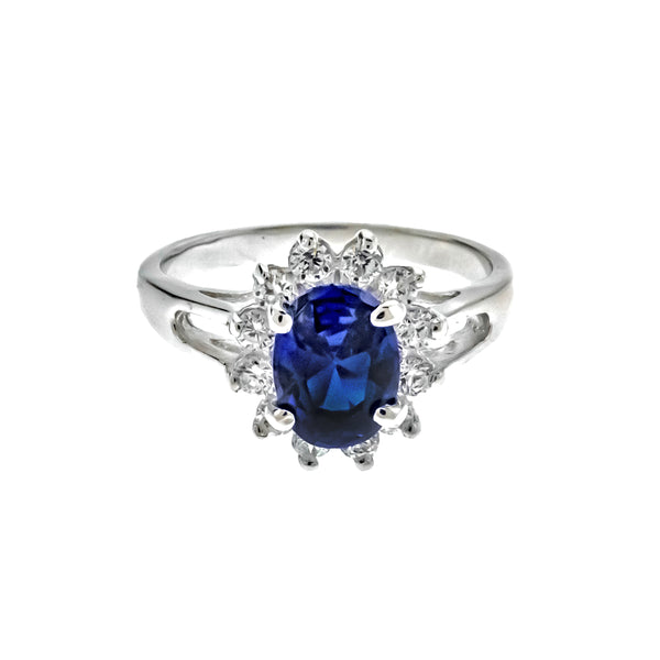 Sapphire and CZ Sunflower Ring